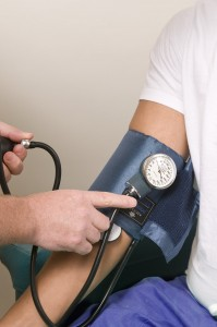 close up of a patient during a blood pressure examination